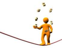 Finance Dollar Jongleur. 3D illustration looks orange cartoon jongleur with many green backs in the hands Stock Image
