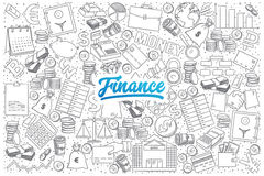 Finance doodle set with blue lettering. Hand drawn set of finance doodles with blue lettering in vector Stock Photos
