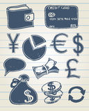 Finance doodle set. Vector illustration of finance related icons in sketchy style Royalty Free Stock Images