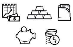 Finance and economics symbols. Set of finance and economic symbols isolated on white Stock Photos