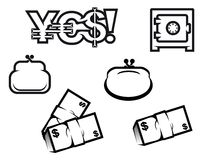 Finance and economics symbols. Set of finance and economic symbols isolated on white for design Royalty Free Stock Photo