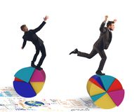 Finance and economy acrobats Royalty Free Stock Photo