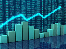 Finance and economy charts. 3d illustration of finance and economy concept