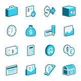 Finance and Economy Icons. Blue finance and economy vector icons Royalty Free Stock Photography