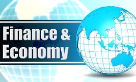 Finance and economy with sphere globe. 3D rendering Royalty Free Stock Image