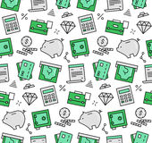 Finance elements seamless icons pattern Stock Images