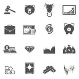 Finance exchange icons black. Finance investment money exchange trading icons flat set isolated vector illustration Royalty Free Stock Images
