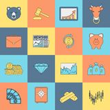 Finance exchange icons flat line. Finance investment money currency exchange trading icons flat line set isolated vector illustration Royalty Free Stock Photos