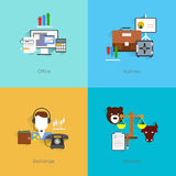 Finance exchange icons flat. Finance exchange flat set with office business balance isolated vector illustration Stock Photography