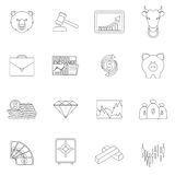 Finance exchange outline icons. Finance investment money investment currency exchange trading outline icons set isolated vector illustration Royalty Free Stock Images