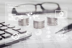 Finance. Business calculation cash coin computer cost stock photography