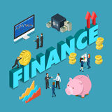 Finance flat 3d isometric big word concept vector. Flat 3d isometric style business corporate finance concept web infographics vector illustration. Office staff Stock Photo