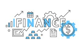 Finance Flat Design In Blue. Business and Finance Illustration in Doodle Style. Increasing Income and Money Management. Business and Finance Illustration in stock illustration
