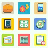 Finance flat icons. Set for design vector illustration Royalty Free Stock Image