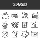 Finance flat icons set. Vector illustration, EPS 10 Royalty Free Stock Photography