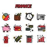 Finance flat icons set Stock Photos