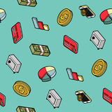 Finance flat outline isometric pattern. Vector illustration, EPS 10 Royalty Free Stock Photos