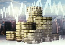 Finance and forex concept. Golden coins on abstract city and business chart background. Finance and forex concept. Double exposure Royalty Free Stock Photo