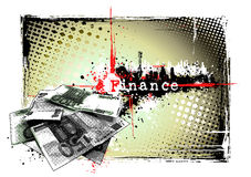 Finance frame. Illustration of the money on the dirty background Stock Photos