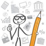 Finance_gb. Businessman with big pencil, symbols Royalty Free Stock Image
