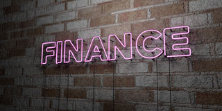 FINANCE - Glowing Neon Sign on stonework wall - 3D rendered royalty free stock illustration Stock Images