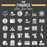 Finance glyph icon set, business signs collection Royalty Free Stock Photos