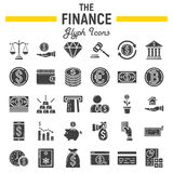 Finance glyph icon set, business signs collection Royalty Free Stock Photography