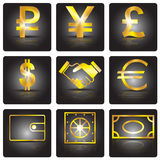 Finance. Golden sign. Finance. Business. Golden signs with shadow on a black background. Vector Image Stock Image