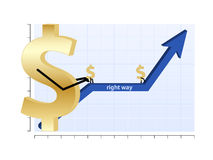 Finance graph. Illustration of the finance graph with dollar symbol and up arrow Royalty Free Stock Photo