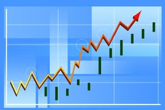 Finance graph. With arrow and blue Royalty Free Stock Photo