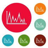 Finance graph icons circle set vector. Isolated on white background Stock Images
