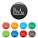 Finance graph icons set collection circle. Finance graph icons set in simple style many color circle isolated on white background Stock Image