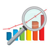 Finance graph and magnifying glass. Stock Photos