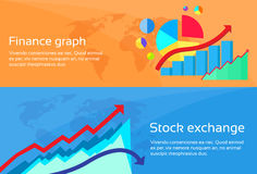 Finance Graph Stock Exchange Chart Web Banner Set. Flat Design Vector Illustration Stock Images