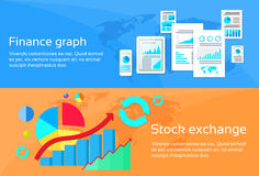 Finance Graph Stock Exchange Chart Web Banner Set. Flat Design Vector Illustration Royalty Free Stock Photo