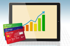 Finance Graph with tablet and credit cards Royalty Free Stock Image