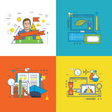 Finance, graphic design. Concept of Graphic design, Education, Success at work, Career growth, Investment and Innovation. Colorful icons collection. Editable Stock Image