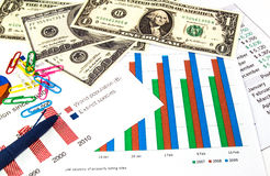 Finance graphs, US dollars money and a blue pen. Stock Image