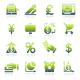 Finance green icons. Vector icons set for websites, guides, booklets Royalty Free Stock Photography