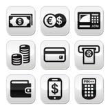 Money, atm - cash mashine  buttons set Stock Images