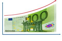 Finance growth by 100 Euro diagram. Isolated. Finance, economy  growth diagram by 100 Euro is isolated on white background. Copy space for your text Royalty Free Stock Image