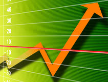 Finance Growth. Orange growth arrow over green numbers background Stock Photos