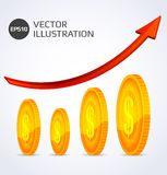 Finance Growth. Abstract illustration of Finance Growth with gold coins Royalty Free Stock Photography