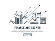 Finance growth banner. Financial growth concept illustration. Magnifying glass, calculator, arrows and graph stats. Thin line style banner. Trendy vector placard Stock Photo