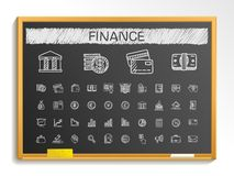 Finance hand drawing line icons. chalk sketch sign illustration on blackboard Royalty Free Stock Photo