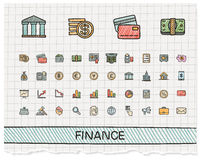 Finance hand drawing line icons. Vector doodle pictogram set: color pen sketch sign illustration on paper with hatch symbols: business, statistics, currency Stock Photography