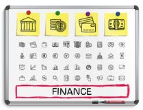 Finance hand drawing line icons. Stock Photo