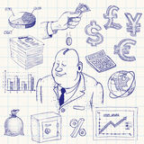 Finance. Hand-drawn finance doodle. Eps8. CMYK. Organized by layers. Global colors. Gradients free Stock Photography