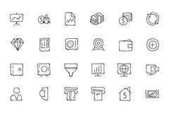 Finance Hand Drawn Doodle Icons 3. Need a little financial stability after all that Christmas gift giving? Make a design plan with your Hand Drawn Financial Royalty Free Stock Image