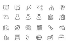 Finance Hand Drawn Doodle Icons 1 Stock Images